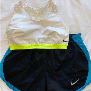 Nike White Sportsbra (S) & Black, Blue Shorts (XS)